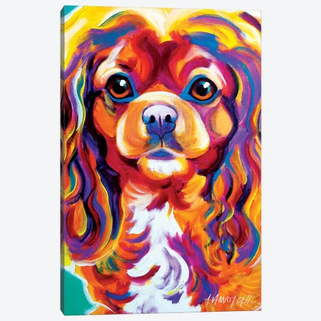 Boonda The King Charles Spaniel Canvas Print #DWG23} by DawgArt Canvas Wall Art