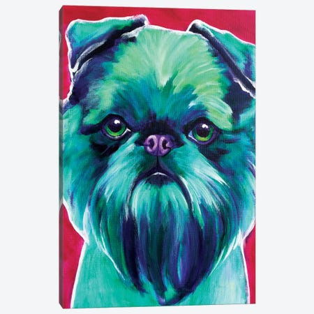 Bottle Green Brussels Griffon Canvas Print #DWG24} by DawgArt Canvas Art Print