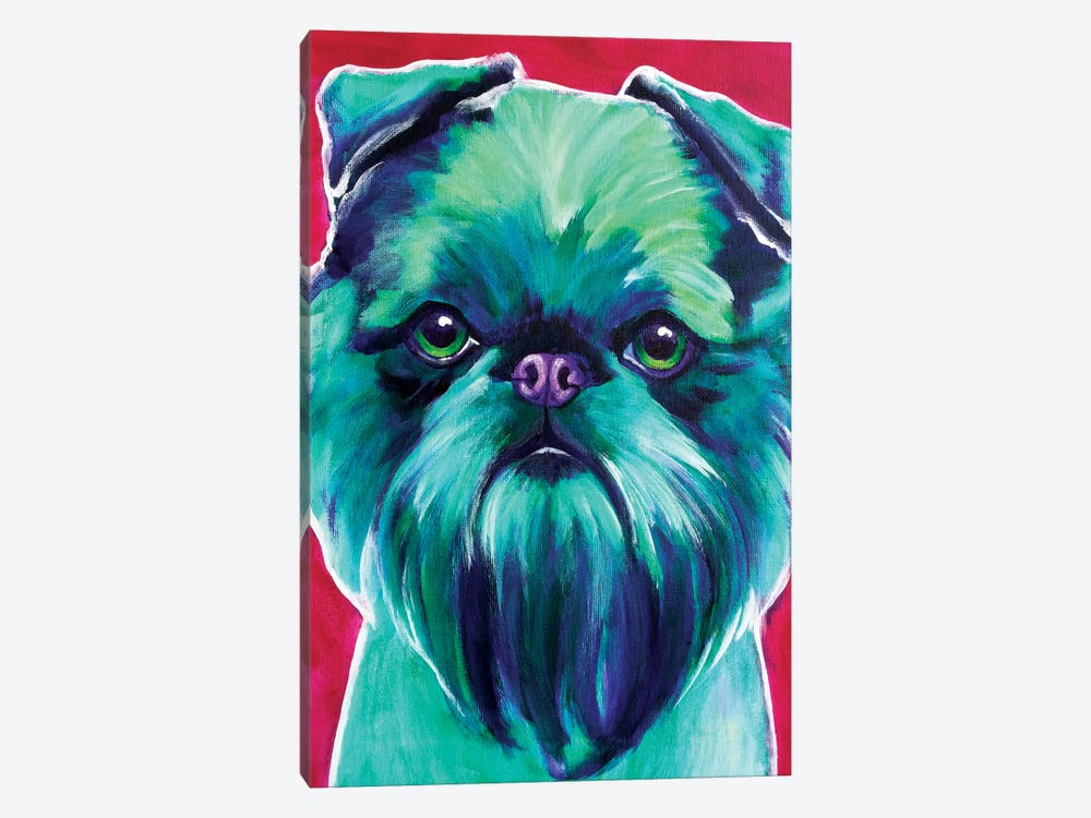 Bottle Green Brussels Griffon by DawgArt 1-piece Canvas Art