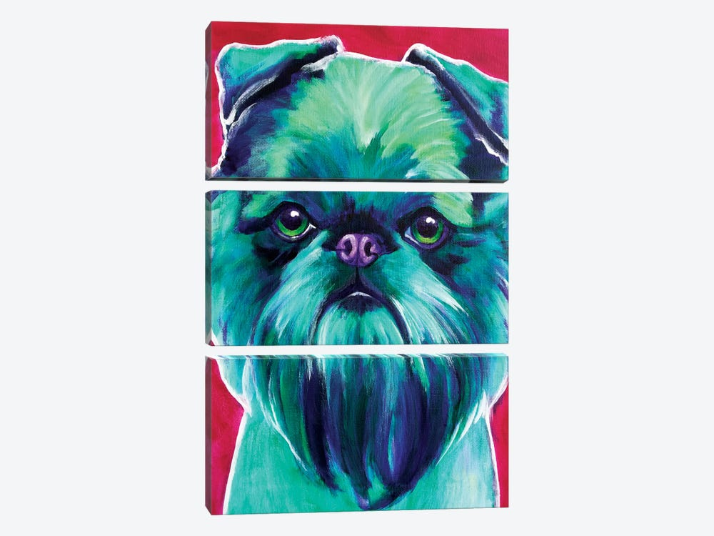 Bottle Green Brussels Griffon by DawgArt 3-piece Canvas Artwork