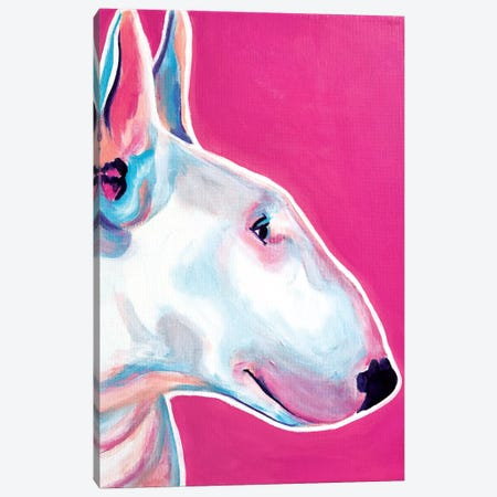 Bubble Gum The Bull Terrier Canvas Print #DWG27} by DawgArt Canvas Art Print