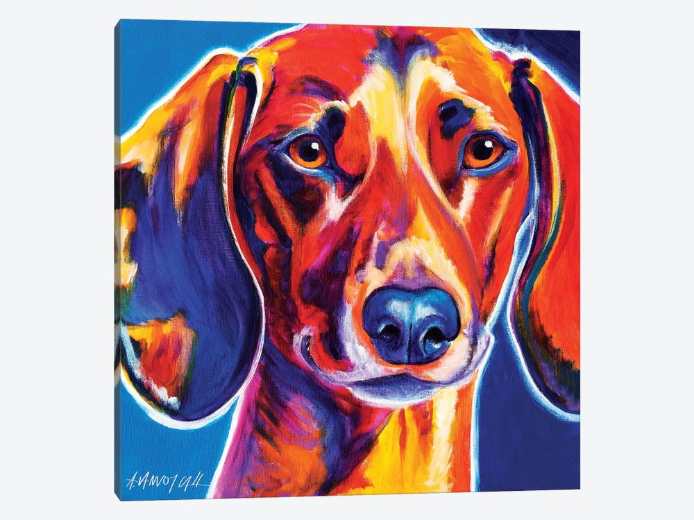 Bubbs The Dachshund by DawgArt 1-piece Canvas Artwork