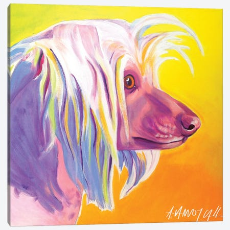 Chinese Crested - Profile Canvas Print #DWG35} by DawgArt Canvas Artwork
