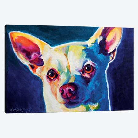 Coco The Chihuahua Canvas Print #DWG38} by DawgArt Canvas Print
