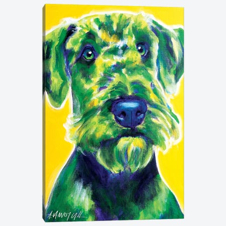Apple Green The Airedale Terrier Canvas Print #DWG3} by DawgArt Canvas Art