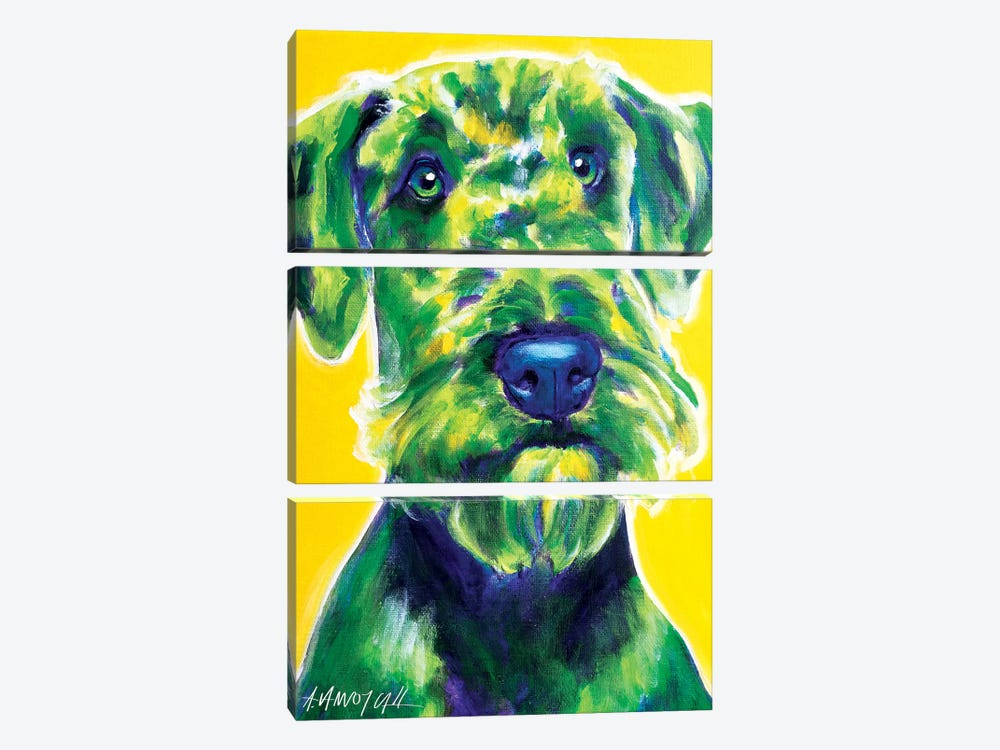 Apple Green The Airedale Terrier by DawgArt 3-piece Canvas Art Print