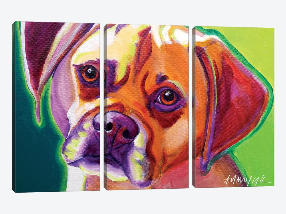 Cooper The Puggle by DawgArt 3-piece Canvas Artwork