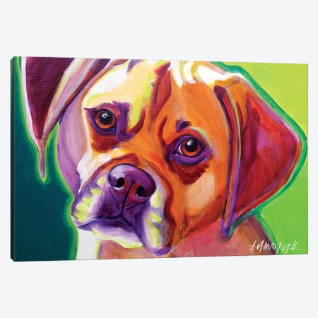 Cooper The Puggle Canvas Print #DWG40} by DawgArt Canvas Wall Art
