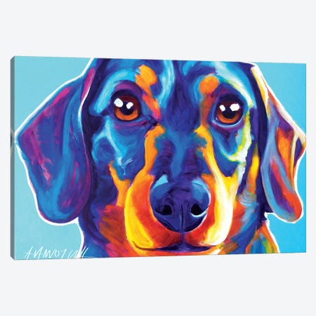 Dachshund Oscar Canvas Print #DWG43} by DawgArt Canvas Art
