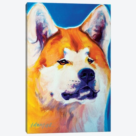 Apricot The Akita Canvas Print #DWG4} by DawgArt Art Print