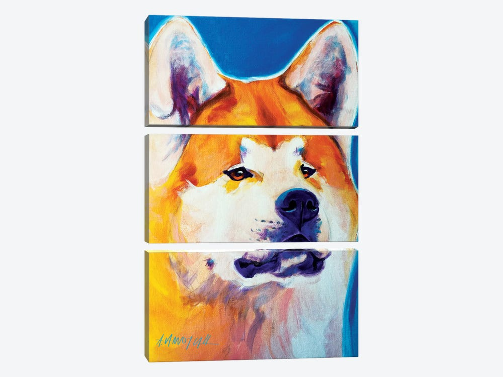Apricot The Akita by DawgArt 3-piece Canvas Art