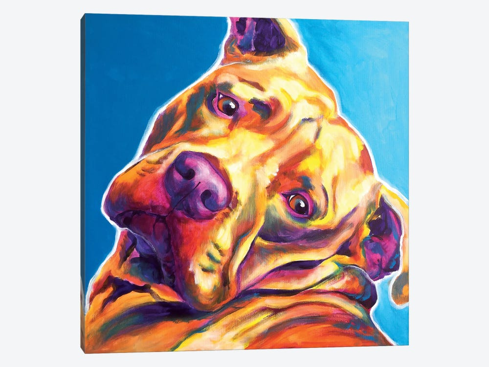 Dozer The Pit Bull by DawgArt 1-piece Art Print