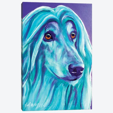 Aqua The Afghan Hound Canvas Print #DWG5} by DawgArt Canvas Art Print