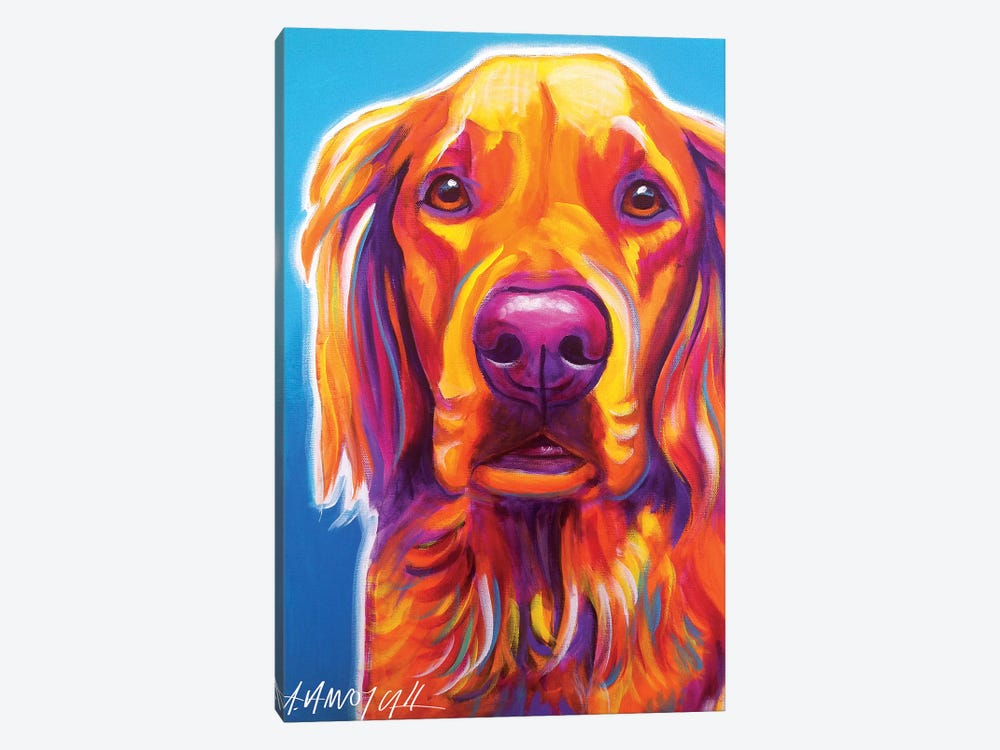 Macie The Golden Retriever by DawgArt 1-piece Canvas Art Print