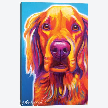 Macie The Golden Retriever Canvas Print #DWG61} by DawgArt Canvas Art