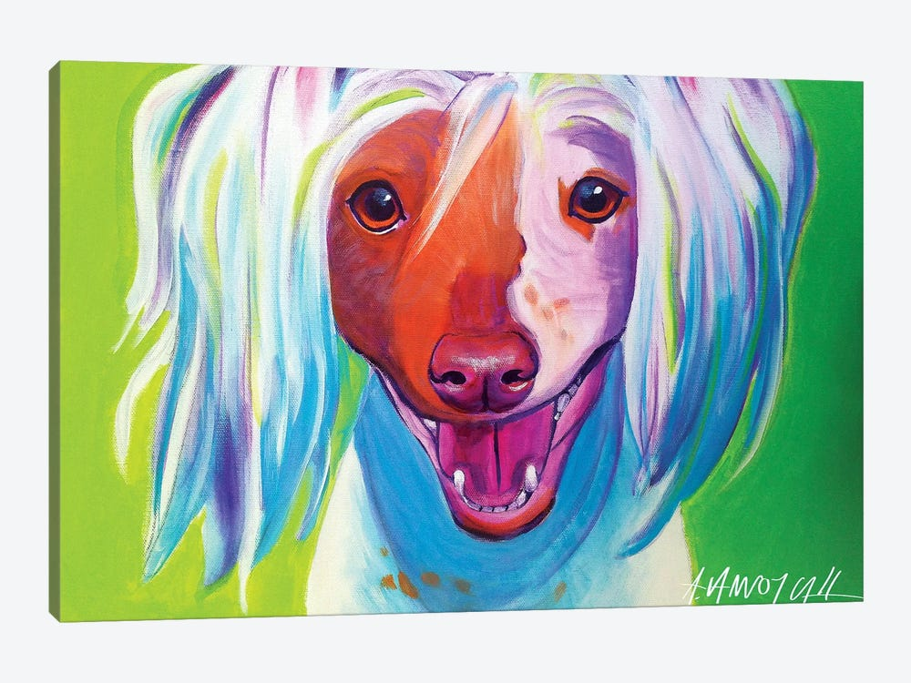 Grin The Chinese Crested by DawgArt 1-piece Canvas Wall Art