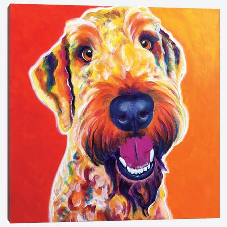 Hank The Airedoodle Canvas Print #DWG66} by DawgArt Canvas Art Print