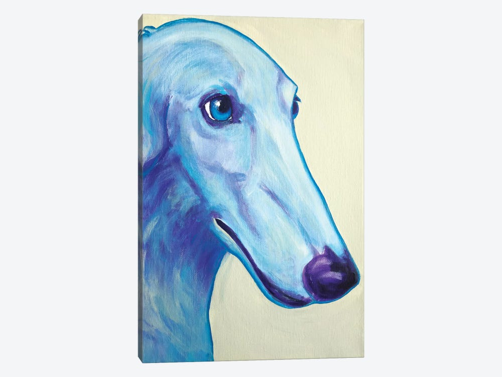 Baby Blue Borzoi by DawgArt 1-piece Canvas Wall Art