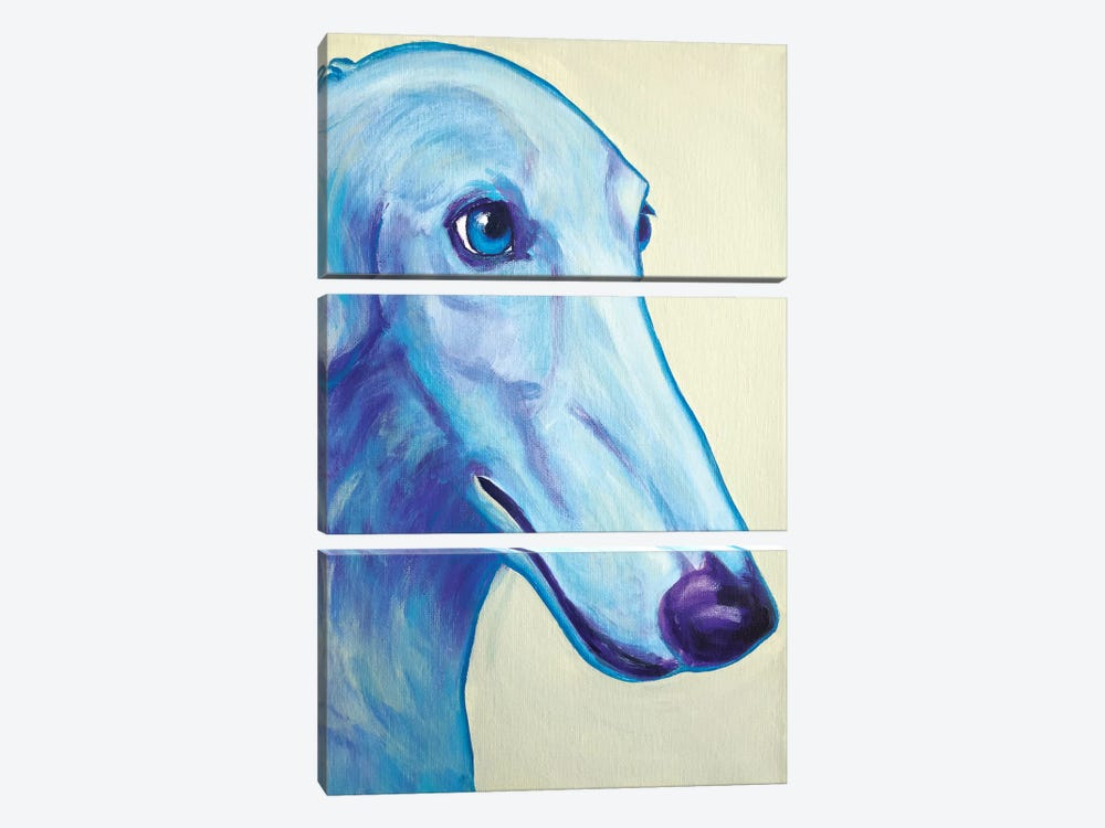 Baby Blue Borzoi by DawgArt 3-piece Canvas Artwork