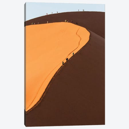 Africa, Namib Desert. Hikers climbing the red sand dune in Namibia. Canvas Print #DWI2} by Deborah Winchester Canvas Art