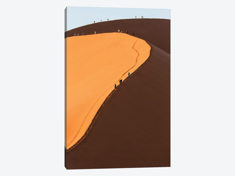 Africa, Namib Desert. Hikers climbing the red sand dune in Namibia. by Deborah Winchester 1-piece Canvas Wall Art