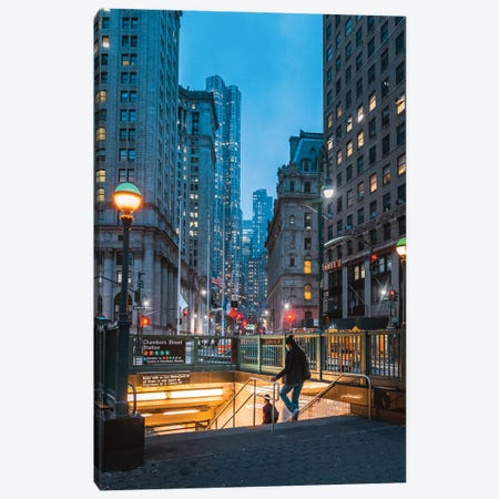 Blue Hour In New York's Financial District Canvas Print #DWK11} by Dylan Walker Canvas Art Print