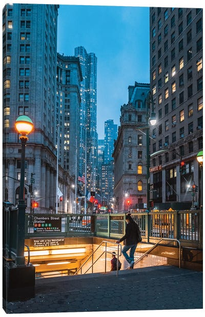 Blue Hour In New York's Financial District Canvas Art Print