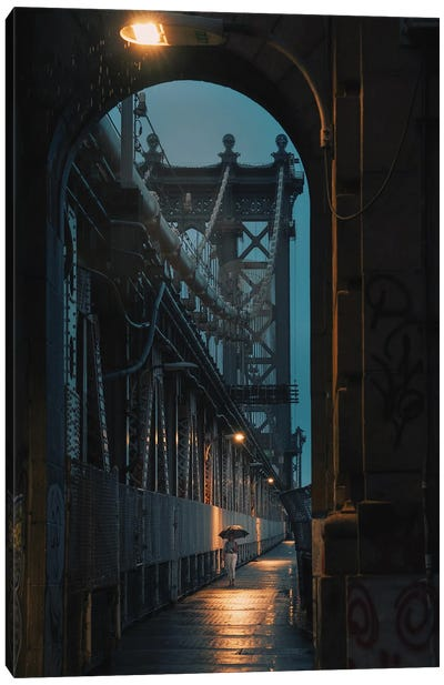 Lonely Walk On The Manhattan Bridge Canvas Art Print
