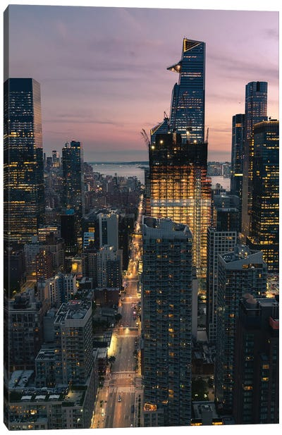 Cotton Candy Skies In Nyc Canvas Art Print