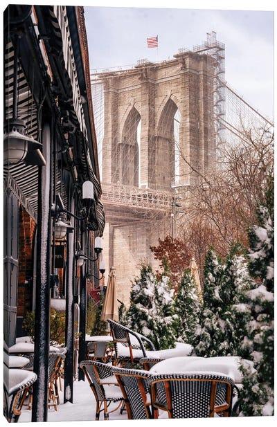 Snow Days Under The Brooklyn Bridge Canvas Art Print