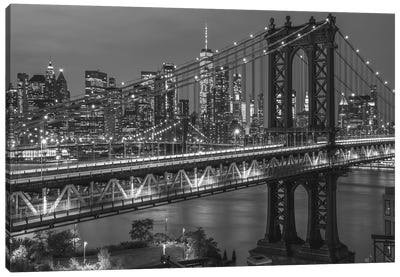 Manhattan Bridge In Black And White Canvas Art Print