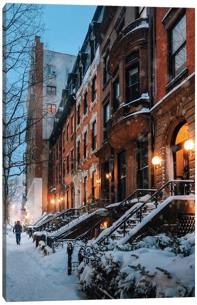 Snowy Night In Brooklyn Heights Canvas Art Print
