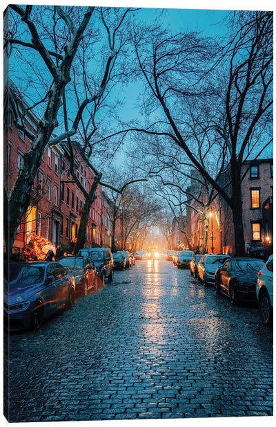 Rainy Cobblestone Streets In Brooklyn Canvas Art Print