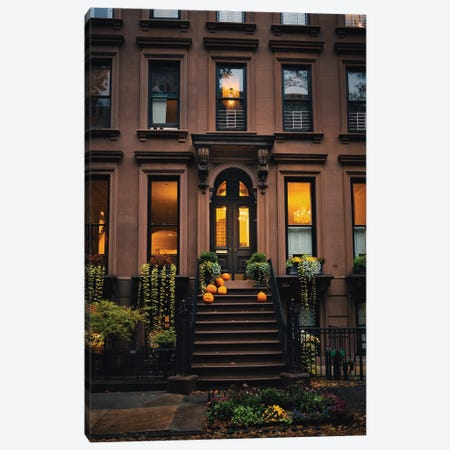 October Stoops Of Brooklyn Canvas Print #DWK48} by Dylan Walker Canvas Wall Art