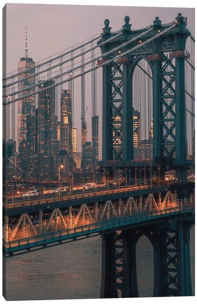 Manhattan Bridge With The Manhattan Skyline Canvas Art Print