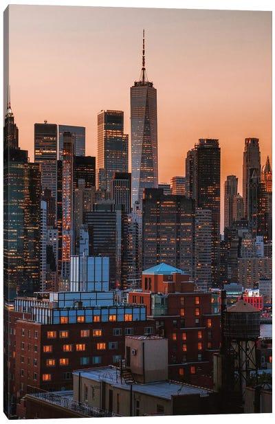 Manhattan Views From Brooklyn Roof Tops Canvas Art Print