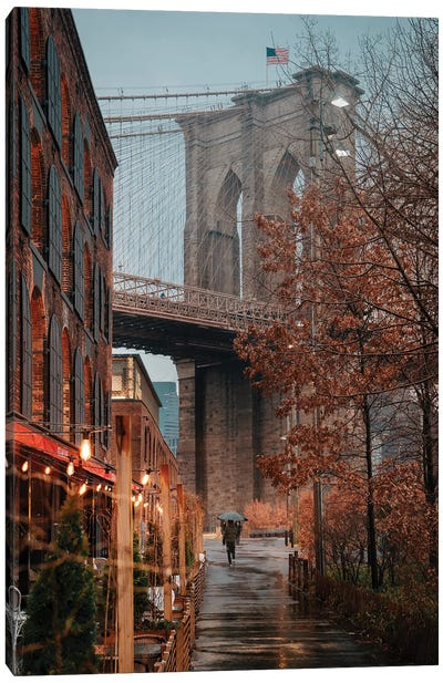 Rainy Day Under The Brooklyn Bridge Canvas Art Print