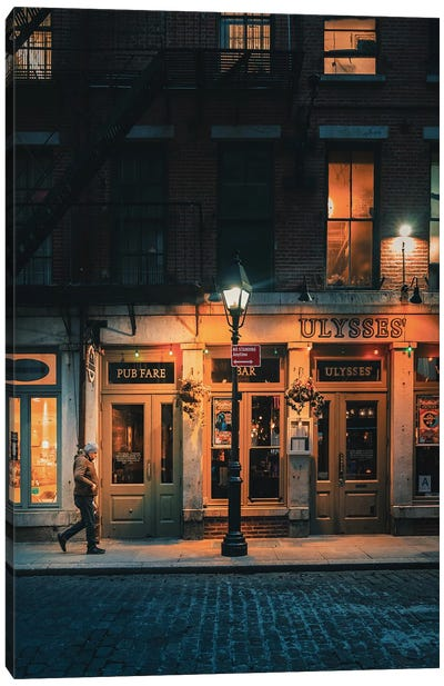Lone Man On Stone Street Canvas Art Print