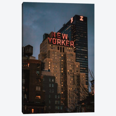 Blue Hour At The New Yorker Canvas Print #DWK65} by Dylan Walker Canvas Art Print