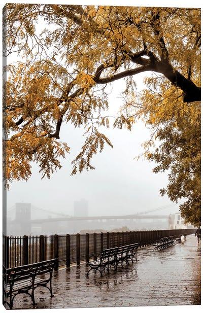 Man Walking Dog On Brooklyn Heights Promenade In Fall Canvas Art Print