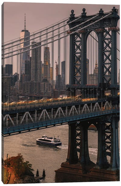 New York Skyline Through The Manhattan Bridge Canvas Art Print