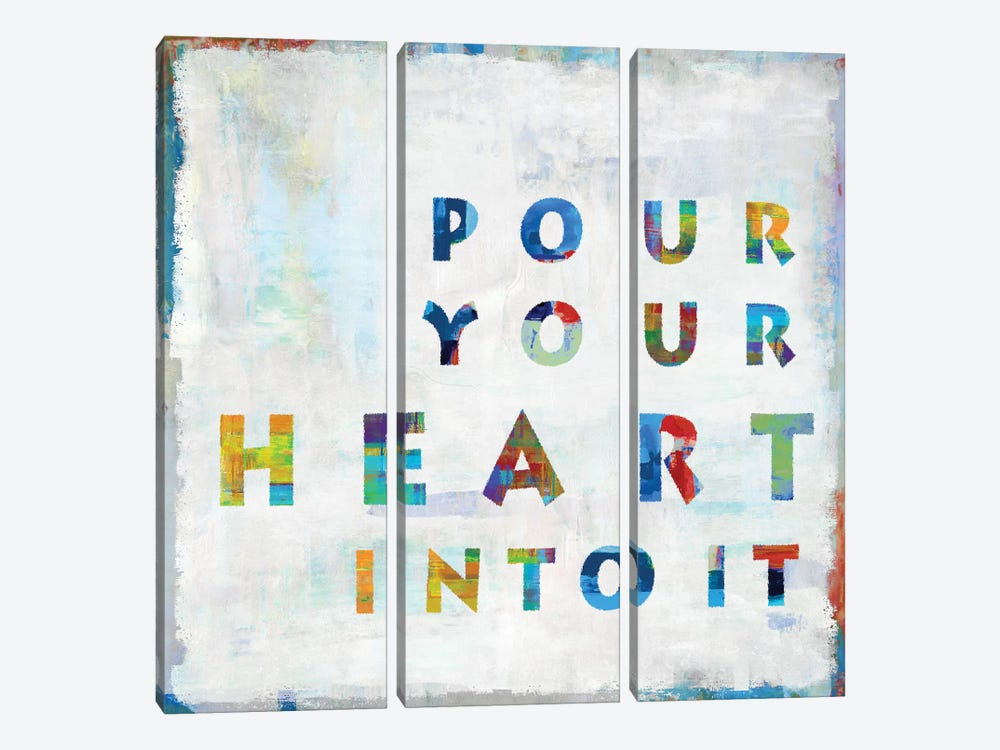 Pour Your Heart In Color by Janie Macdowell 3-piece Canvas Wall Art