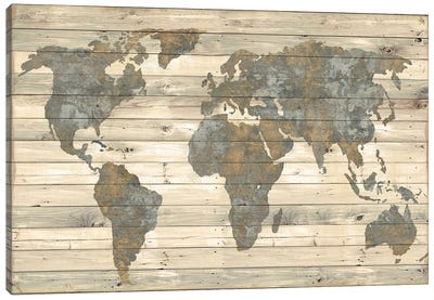 World Map On Wood - Vintage Tan Canvas Art Print