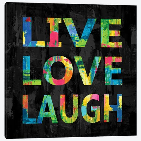 Live Love Laugh Color on Black Canvas Print #DWL45} by Jamie MacDowell Canvas Art