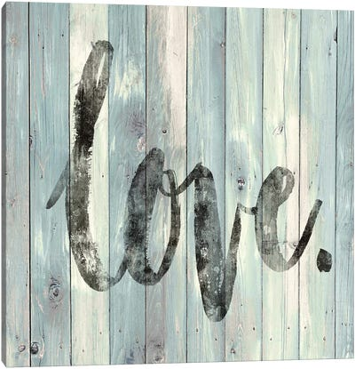 Love. On Wood Canvas Art Print