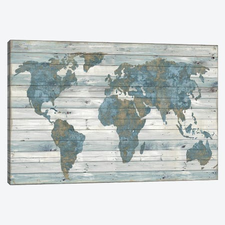 World Map On Wood Canvas Print #DWL5} by Janie Macdowell Canvas Art