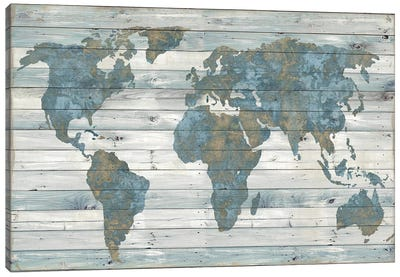 World Map On Wood Canvas Art Print