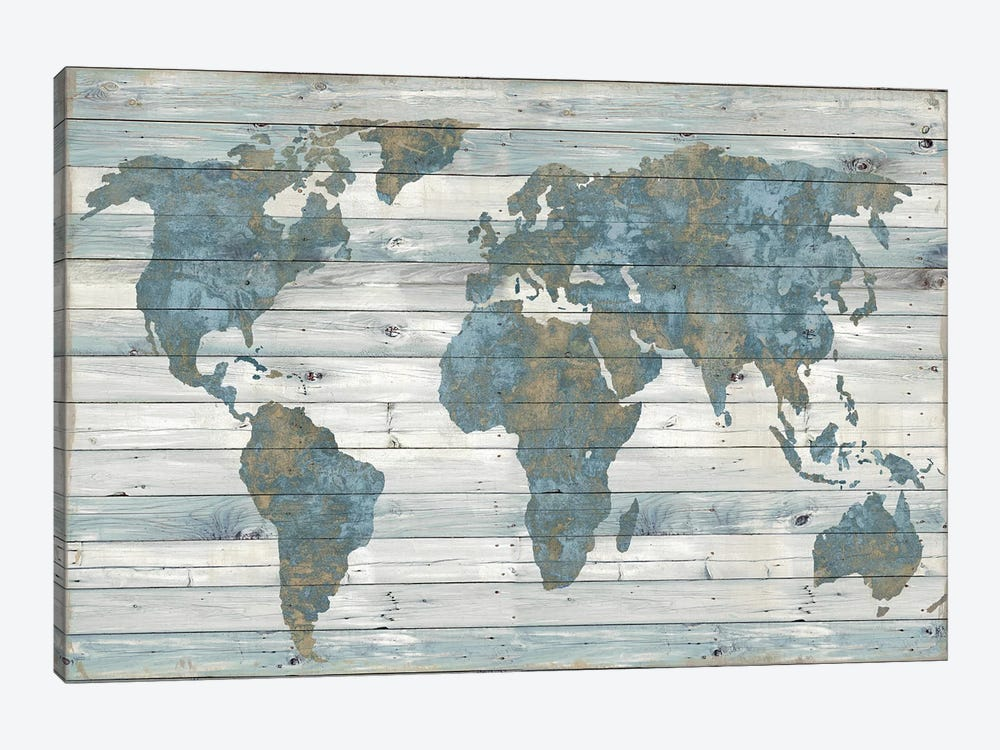 World Map On Wood by Janie Macdowell 1-piece Canvas Wall Art