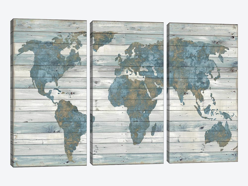 World Map On Wood by Janie Macdowell 3-piece Canvas Art