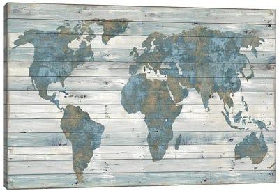 World Map On Wood Canvas Art Print